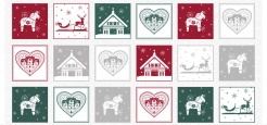 4495-006 Vánoční motivy na bílém podkladu -