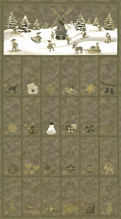 Látky Patchwork - Adventní kalendář na šedém podkladu