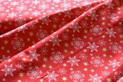 130255-5019 Vločky a hvězdičky na červeném podkladu - Glitr
