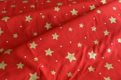 131511-5019 Hvězdičky na červeném podkladu - Glitr