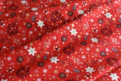 131441-5019 Vánoční motiv na červeném podkladu -