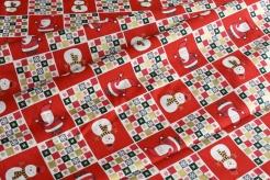 131447-0802 Vánoční dlaždice na červeném podkladu -
