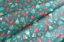 131442-5031 Vánoční motiv na zeleném podkladu -