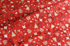 131442-5019 Vánoční motiv na červeném podkladu -