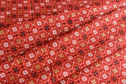 131455-5019 Vánoční motiv na červeném podkladu -