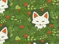 2506-135 Liška v rostlinách na zelené -