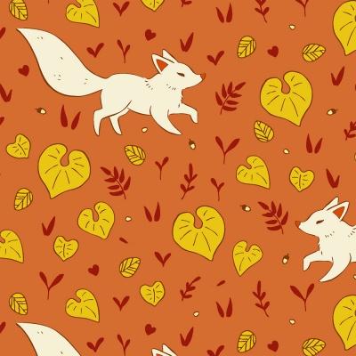 Látky Patchwork - Lišky na skořicové