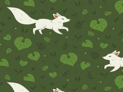 2506-137 Lišky na tm.zelené -