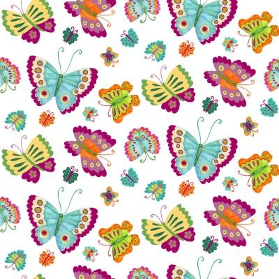 Látky Patchwork - Motýli na bílé