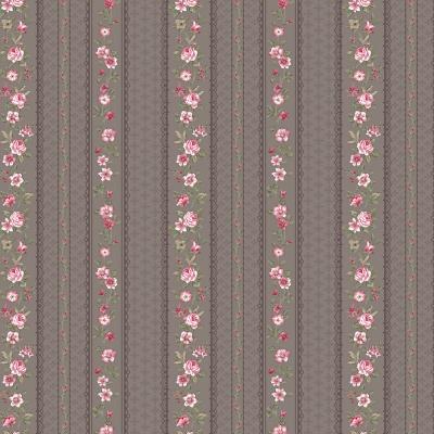 Látky Patchwork - Květiny růže na šedé