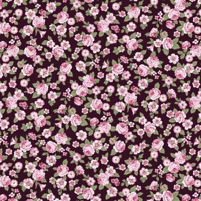 Látky Patchwork - Růže na bordó