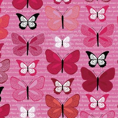 Látky Patchwork - Motýli na fialové