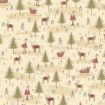 Látky Patchwork - Vánoční motiv na béžové