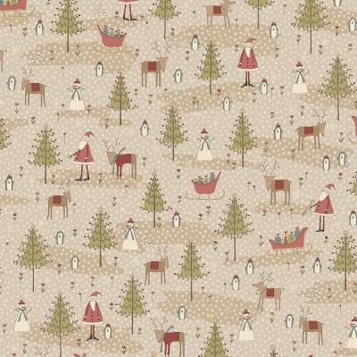 Látky Patchwork - Vánoční motiv na tm. béžové