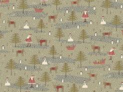 4790-543 Vánoční motiv na zelenošedé -