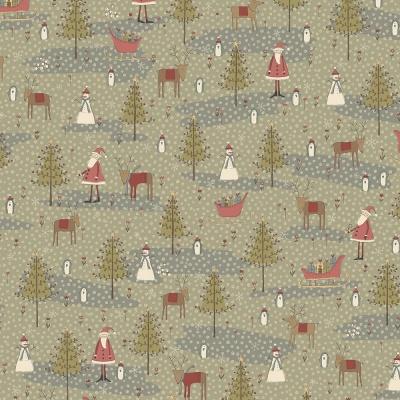 Látky Patchwork - Vánoční motiv na zelenošedé