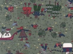 6890-045 Vánoční motiv se sobi na šedé -