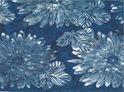 3364-603 Batika - květy na modré -
