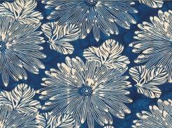 3364-610 Batika - květy na modré -