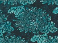 3364-704 Batika - květy na tyrkysové -