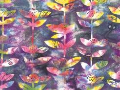 3364-721 Batika - rostlinky na fialové -