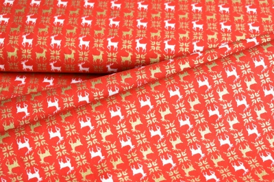 Látky Patchwork - Sobi na červeném podkladu