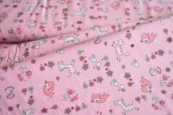132976-5017 Zvířátka na růžovém podkladu -