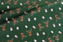 133194-0003 Tučňáci a sobi na zeleném podkladu - úplet