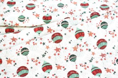 Látky Patchwork - Vánoční baňky na smetanové