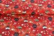 Látky Patchwork - Vánoční baňky na červené