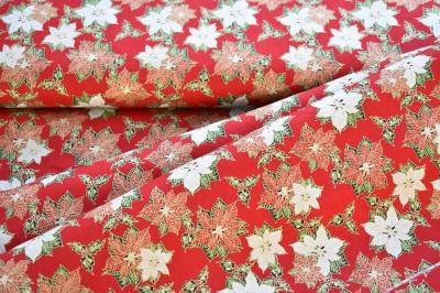 Látky Patchwork - Malé vánoční hvězdy na červené