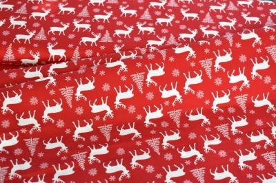 Látky Patchwork - Vánoční motiv na sv. červené